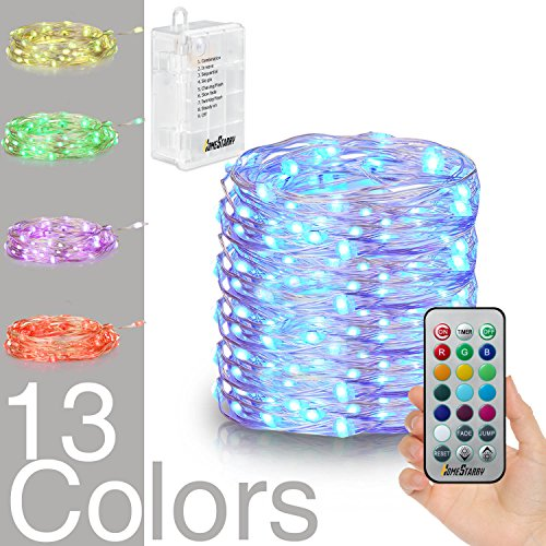 Hometarry LED String Lights,Battery Operated Lights Multi Color Changing String Lights Remote Control Waterproof 100LEDs 33 ft Indoor Decorative Silver Wire Lights for Bedroom,Christmas lights