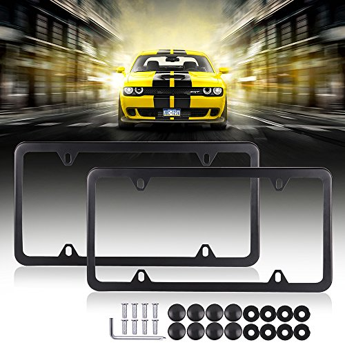 Licenses Plate Covers Aluminum License Plates Frames with Screw Caps 2 Pcs 4 Holes Black Powder Coated Plate Cover Frame Shield Combo by Scitoo
