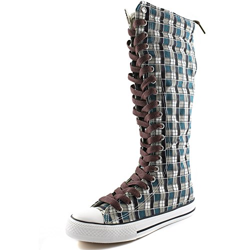 DailyShoes Womens Canvas Mid Calf Tall Boots Casual Sneaker Punk Flat, Blue Wht Plaid Boots, Hot Brown Lace
