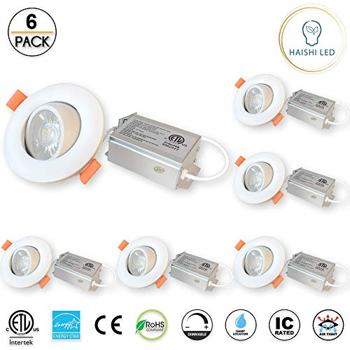 (3 inches Gimbal LED Recessed Light with Junction Box, 8W,650 Lumen, Tilt & Rotate, TRIAC Dimming, ETL & Energy Star Listed, 3000K Warm White, Pack of 6)