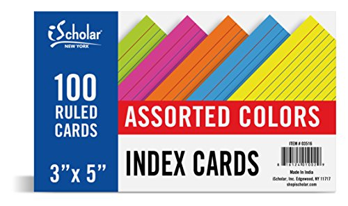 iScholar Index Cards, Ruled, Colored, 3 x 5 Inches, 100 Card Pack (03516)