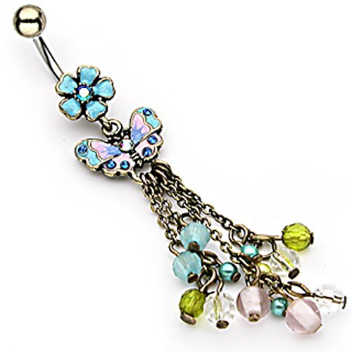 Dynamique Vintage Flower with Butterfly & Chain Drop Beads Dangle Belly Button Navel Ring ()