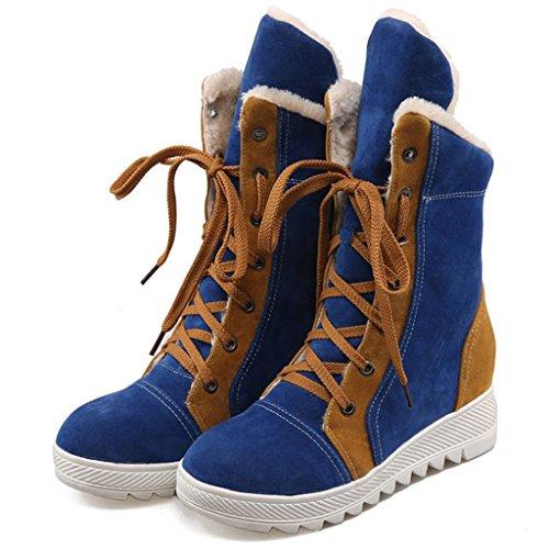 Pente avec Dames Chaussure Blue Aide Femelle Bottes de Neige Couleur élevée Avant de Taille Grande Combat Dentelle Bottes OpqrFOx7