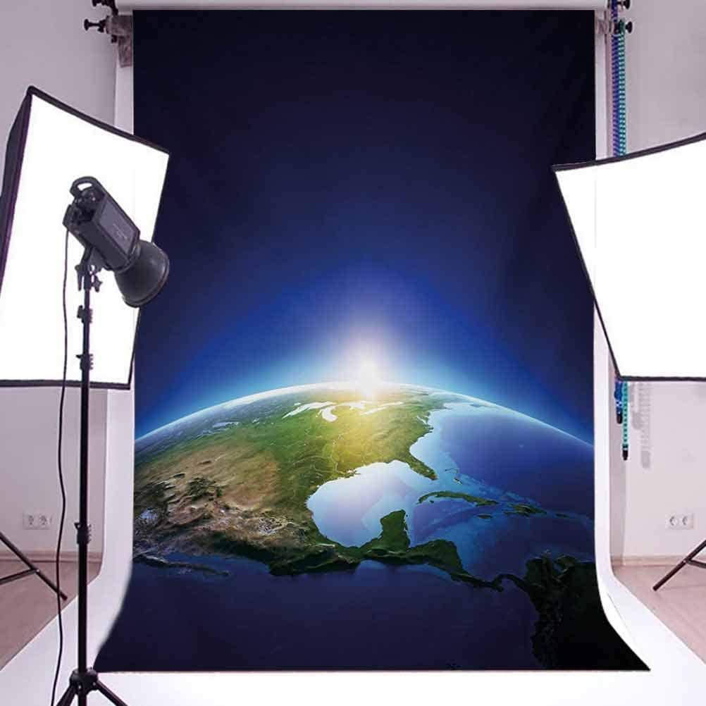 Earth 10x15 FT Backdrop Photographers,Earth Sunrise Over Cloudless North America Atmosphere Space Solar System Background for Baby Birthday Party Wedding Vinyl Studio Props Photography