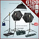 Photography studio vedio Lighting kit with 3 Fluorescent Light Bank Linco Flora +3 35'' Hexogen Easy Softbox Linco Flora +2 8308 Compact Light Stand+18 85W Softwhite Daylight Photo Energy Bulb Linco +2 Carrying Bag+1 Studio Boom stand by Linco#4680FKB