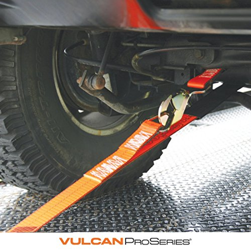 Vulcan ProSeries 1-Ply Flexible Axle Tie Down Combo Strap w/ Snap Hook Ratchet (2'' x 102'' - Pack of 4) Safe Working Load - 3,300 lbs. by Vulcan Brands (Image #1)