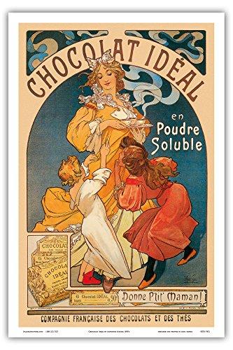 """Belle Poster Print - Chocolat Ideal, Cocoa, Cacao; Compagnie Francaise des Chocolats et des Thés, France; Belle Époque, Art Nouveau, Art Deco; Vintage French advertising poster; """"Les Maitres de l'Affiche"""" by Alphonse Mucha c.1890's - Master Art Print - 12in x 18in"""
