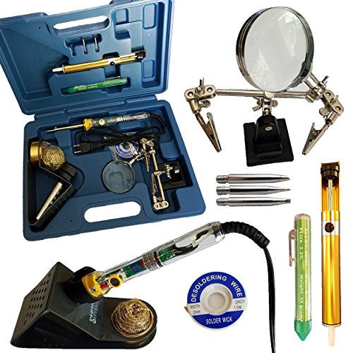 Whatnot Widgets 12 Piece Electronic Soldering Iron Kit with Adjustable Temperature 110V Electric 30-50 Watt Iron, 3 Tips, Helping Hands, Stand, Solder, Sucker, Wick, Tip Cleaner and holder, Tool Case