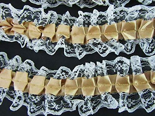 DIY d?cor 8 Yards Pleated Gold Satin/White Floral Lace 1.5 Ruffle Trim/Craft/Sewing T114 (Perfect for Crafts, Decor, Apparel)