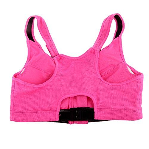 Gazechimp 1x Bra Sujetador Top Tapa Ropa Interior De Yoga Cremallera Deportes De Gimnasia Llantas De Compresión Para Mujer Rosa