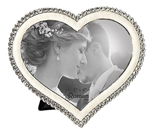(Roman 19638 The The Caroline Collection Heart Shaped Photo Frame with Crystals. Made of Lead Free Zinc)