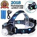 Rechargeable Headlamp, Hard Hat Light – Adults LED Headlamp Flashlight, Perfect Headlamps for Camping, Head Lamps for Adults, Head Flashlight, Lamparas Recargables.