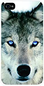 Blue Eyed Wolf Pattern Snap On Case Black Hard Cover for Apple iPhone 4 4s +NFL Micro LED Keychain Light by runtopwell