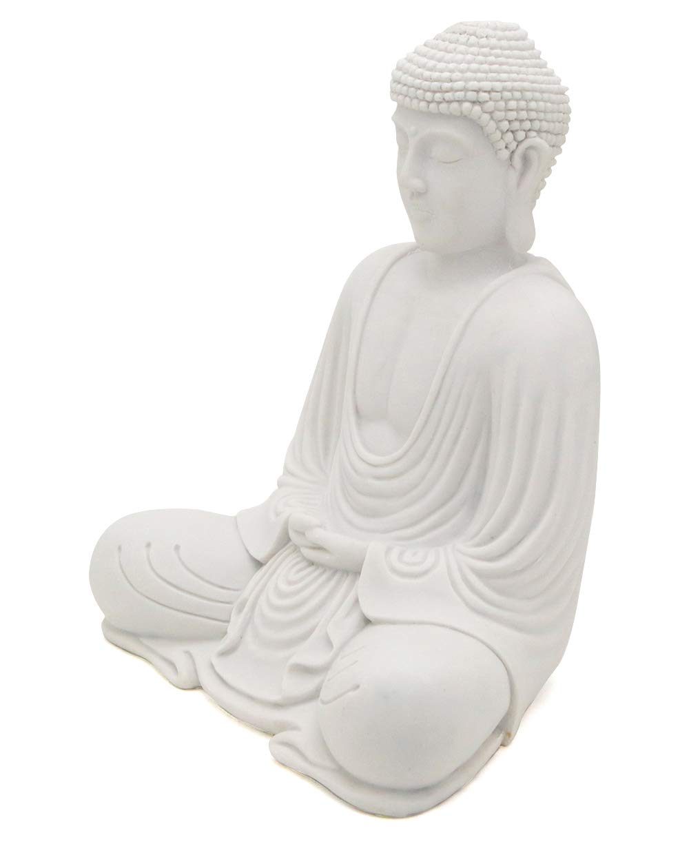 Serene Meditating Buddha Statue in White Finish for Indoor and Outdoor Use White