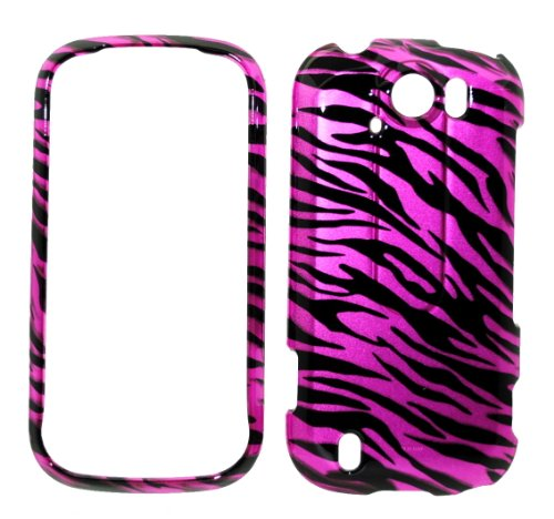 (Hot Pink Zebra Strips Snap on Protective Cover Case for HTC mytouch Slide 4G + Microfiber Pouch Bag)