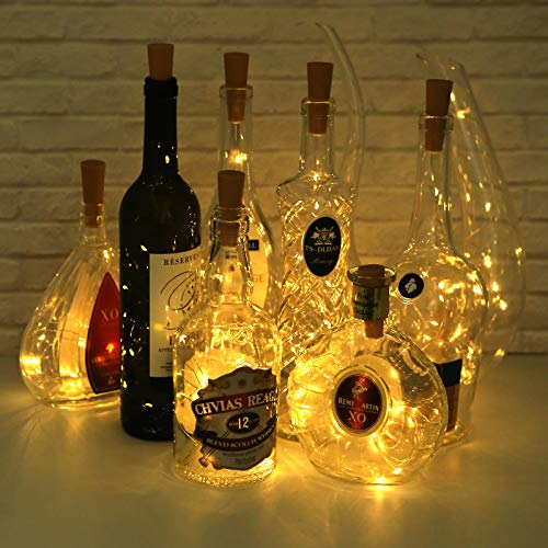 5 Dimmable Modes Intelligent Wine Bottle Lights with Cork, 10 Pack Battery Operated 20 LED Silver Copper Wire Fairy String Lights for DIY, Party, Decor, Christmas, Halloween,Wedding (Warm White)