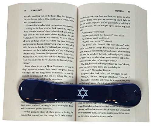 BookBone - Made in the USA - FREE FAST SHIPPING ON ALL DOMESTIC ORDERS - The ORIGINAL Weighted Rubber Bookmark - PRINTED WITH - Star Of David - HOLDS BOOKS OPEN from BookBone