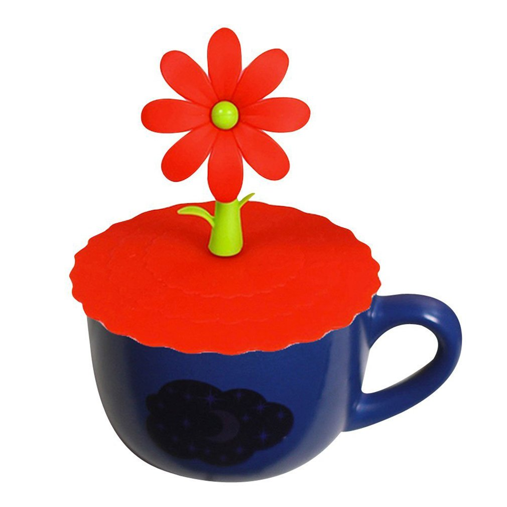 HENGSONG Silicone Anti-Dust Cup Lids with Cute Flower Handle Seal / Leak Proof Cover for Cups, Mug & Glass (Red) mei_mei9