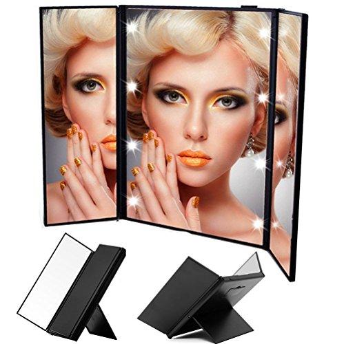 Wawoo® Make-up-Spiegel mit Beleuchtung 8 LEDs 3 Seite 3-facher Vergrößerung + 1: 1 Echtanzeigefunktion Faltbar Beleuchtet Kosmetikspiegel Schminkspiegel Standspiegel