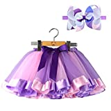 Bingoshine Layered Tulle Rainbow Tutu Skirt for Newborn Baby Girls Photography Outfit Sets Dress up with Colorful Headband (Purple Rainbow, S,0-24 Months)