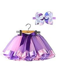 BGFKS Tulle Rainbow Tutu Skirt for Newborn Baby Girls 1st Birthday