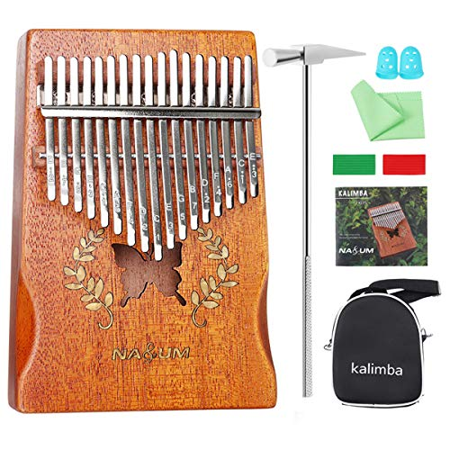 Kalimba Thumb Piano 17 Keys, NASUM Mbira Finger Piano Instrument with Mahogany body, Tuner Hammer, Stickers, Carry Bag, The Best Musical Instrument Gift for Kids and Adults Beginners