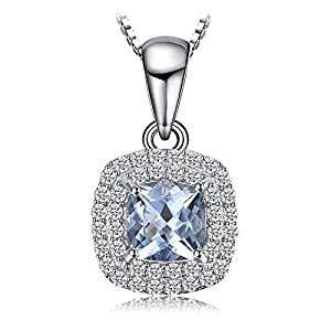 JewelryPalace Cushion Cut 0.8ct Natural Aquamarine Pendant Necklace 925 Sterling Silver 18 Inches JP17UmDE4