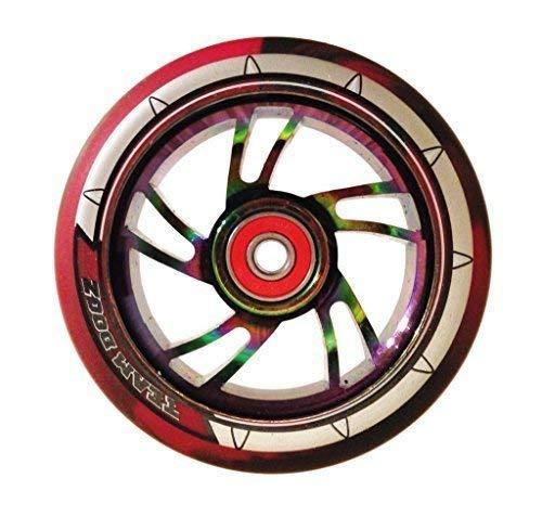 Team Dogz, ruota in gomma da 100mm per monopattino, finitura cromata arcobaleno, ruota in gomma con misto di poliuretano 88A, Red & Black PU