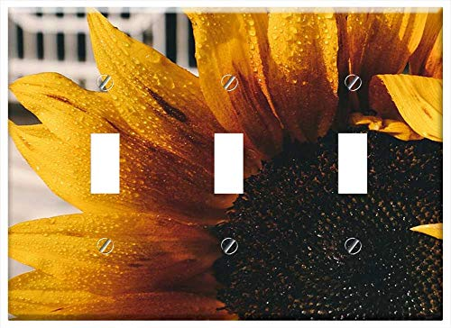 - Switch Plate Triple Toggle - Sunflower Petals Plant Nature Yellow Seeds Leaves