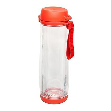 Aladdin 33365 – Botella con Vaso de Vidrio, Rojo 0,53l