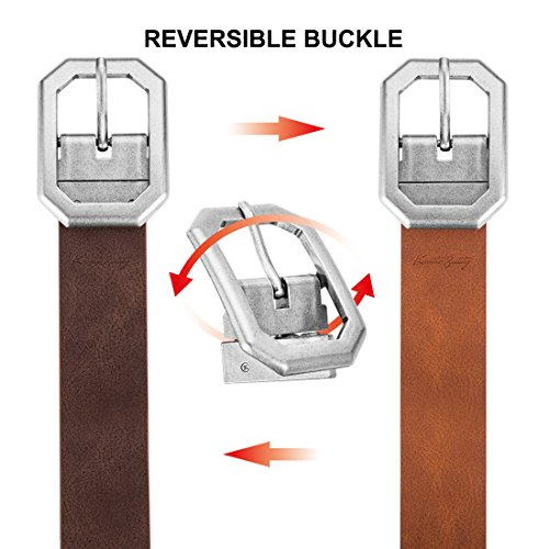 Reversible-Leather-Belts-for-Women-with-125-Wide-Solid-Brown-Western-Waist-Sash-Waistband-Men-Silver-belt-Buckle