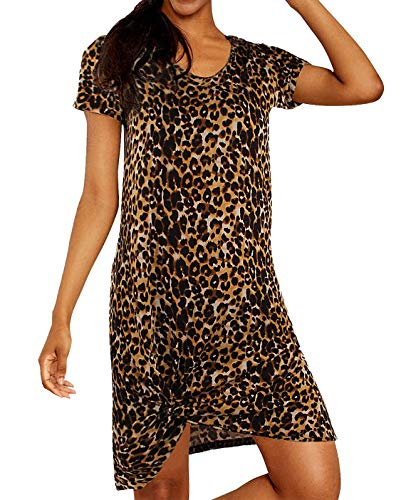 aadf5e5f5a Blooming Jelly Women's Casual Short Sleeve Leopard Print T Shirt Dress V  Neck Loose Summer Knot