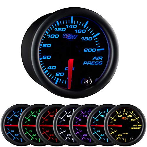 GlowShift Black 7 Color 200 PSI Mechanical Air Pressure Gauge - For Air Ride Suspension Systems - Black Dial - Clear Lens - 2-1/16