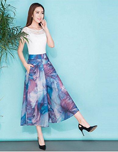 Acmede Palazzo En Imprimé Été Haute Large Pantalon Casual Élastique Jambe Femme Style Fluide Fleur Mousseline Taille 2 xgx4Aqpw