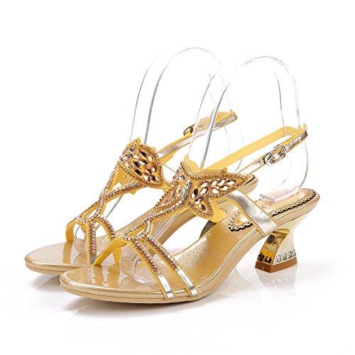 Unicrystal tacón Zapatos dorado de Dorado mujer RwxRqrE0P