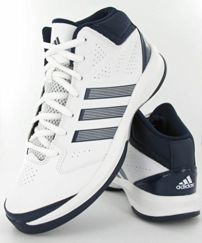 adidas Isolation - Zapatillas de Baloncesto de cuero hombre, Blanc (White/Navy/White), 39,5
