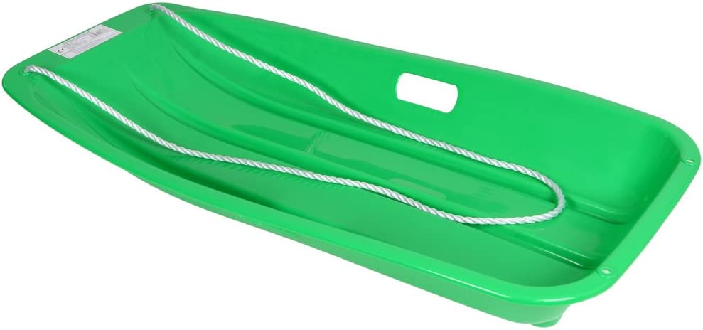 Green Large Plastic Snow Sledge Toboggan With Rope Winter Outdoor Toys Age 6+