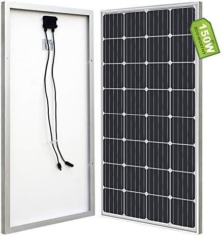 ECO-WORTHY Mono-Solarpanel für 12 V, Akku-Ladegerät, 150 W, Schwarz