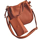 Coohole 2017 Fashion Women Leather Litchi Stria Handbag Crossbody Shoulder Bag+Clutch Wallet (brown)