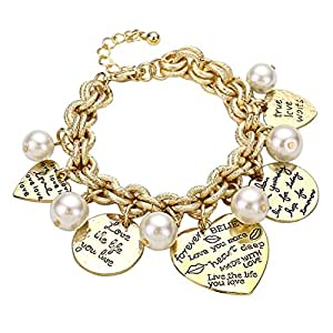 Rosemarie Collections Women's Love Quotes Heart and Faux Pearl Charm Bracelet
