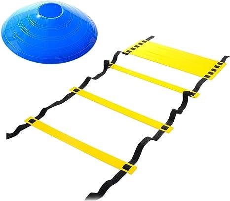 LIOOBO 6 Metros 12 Juego de pies Ajustable para el pulmón Escalera de Agilidad con Marcador