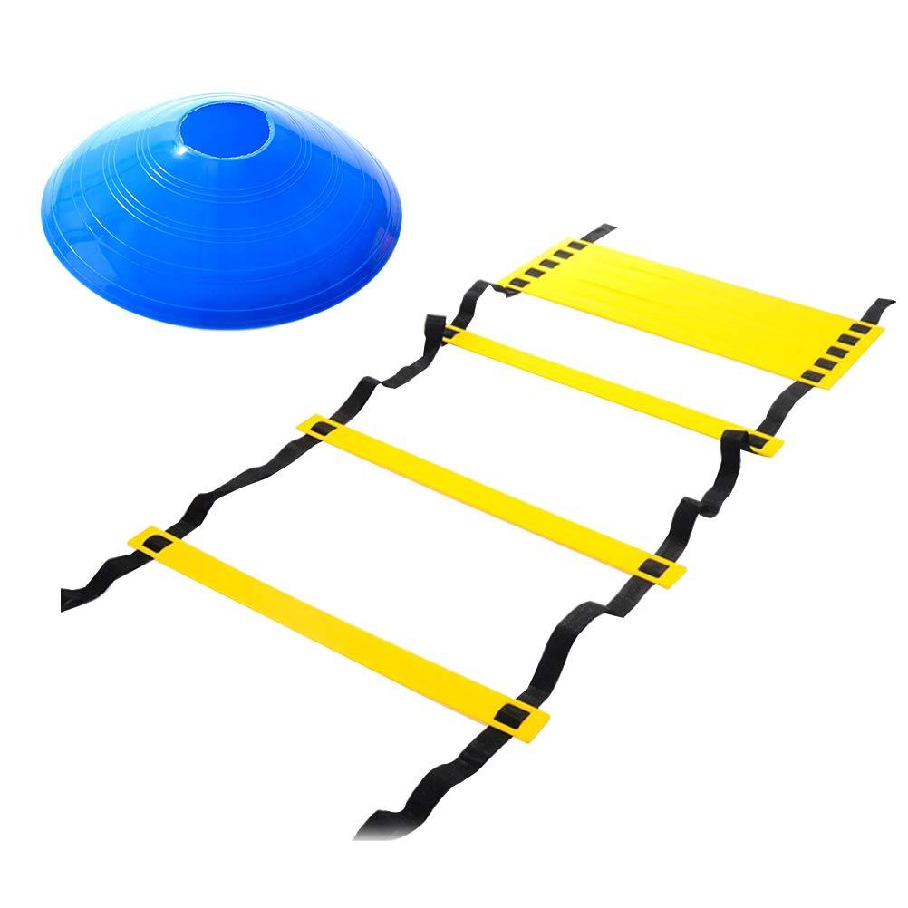 LIOOBO 6 Metri 12 Scala di agilità Regolabile con Piedi polmonari con indicatore a 4 Pezzi Coni per la Regolazione dell'intensità della velocità del Calcio e l'allenamento della destrezza del Corpo