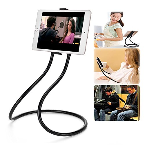 iBzera Universal Cell Phone Stand Holder, Lazy Neck Phone Holder - DIY 360 Degree Rotating Mount with Flexible Long Gooseneck Arm for Tablet, iPhone, iPad, Smartphone, Desk, Bed