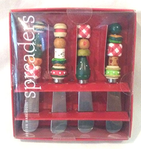 - Gingerbread Gifts Beaded Spreaders, Stainless Steel Holiday Spreaders Set of 4, Boston Warehouse Beaded Spreaders