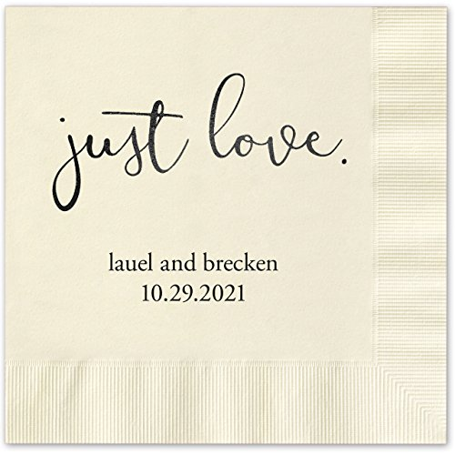 Ecru Luncheon Napkins - Canopy Street Just Love Personalized Luncheon Napkins - 100 Ecru Ivory Paper Coined Napkins with a Choice of foil. 6 1/2'' x 6 1/2'' Folded, Made in The USA