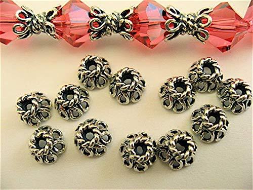 6 Bali Sterling Silver Open Wire Filigree Bead Caps - Bead Wire Caps Open