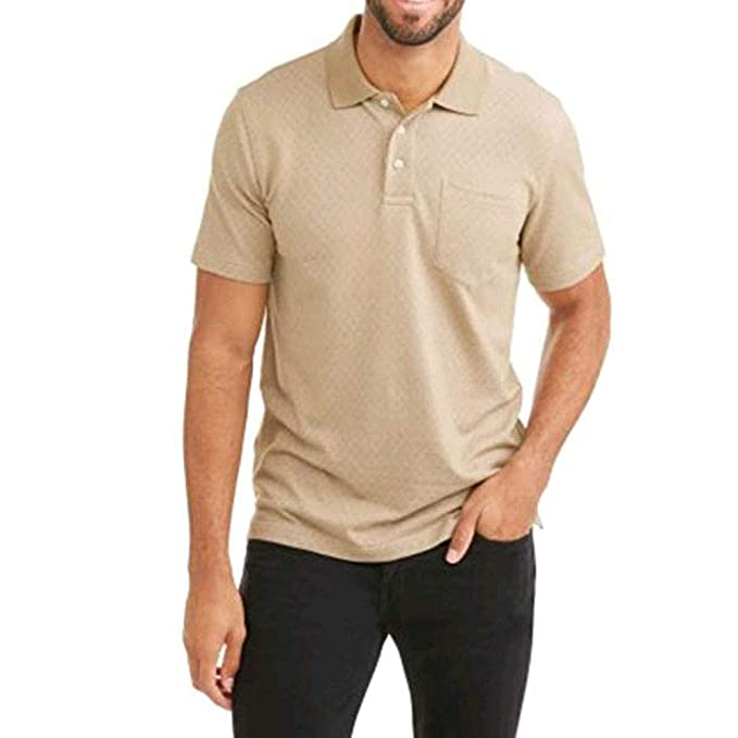 68622d40d Image Unavailable. Image not available for. Color: George Mens Patterned No-Roll  Collar Short Sleeve Polo Shirt (Small 34/36