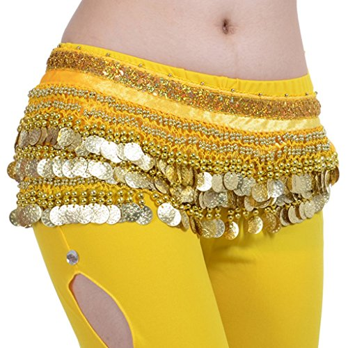 (Pilot-trade Lady's Belly Dance Wrap Hip Scarf Belly Dancing Skirt Multi-Row Gold Coins Yellow)