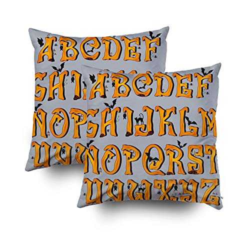 (GROOTEY Throw Pillow Case, Square Pillow Covers with Zip Couch Sofa Décor Spooky Halloween Font Capital Letters Halloween Greeting Cards Eps Marker Random Hatches Marke 16X16 Set of 2 Throw)