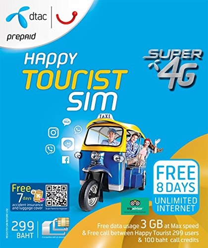 DTAC Happy Touris SIM 3 GB non-stop for 8 day and 100 THB credit for using in Thailand only (Best Tourist Sim Card Thailand)